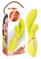Vibrátor, dildó, műpénisz / Vagina és klitorisz vibrátor / Jülie - Klitoriszkaros vibrátor (sárgászöld)