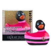 Vibrátor, dildó, műpénisz / Klitorisz izgatók / My Duckie Colors 2.0 - csíkos kacsa vízálló csiklóvibrátor (fekete-pink)