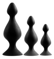 Popsi szex, anál szex / Dildó, vibrátor, butt-plug / Back Up - tapadótalpas anál dildó szett - fekete (3 részes)